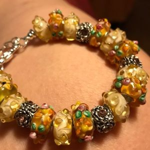 Jewelry - Murano beads on silver bracelets